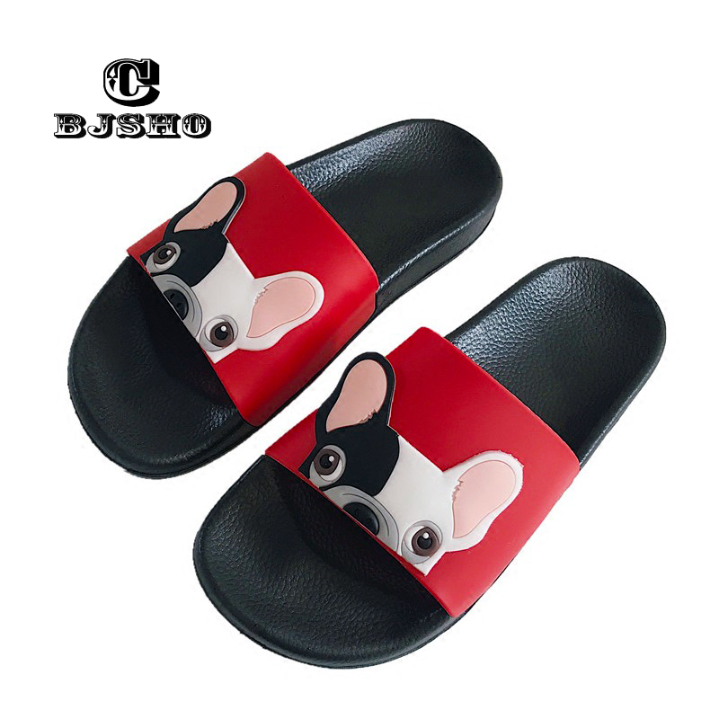 CBJSHO Cute PVC Sandals Slippers Women Summer Beach Slippers Ladies Shoes Soft Soles Non-slip Lovely Animals Slipper Black Pink swonco women s slippers half shoes candy color breathable female slipper 2018 woman slippers summer sandals ladies beach shoes