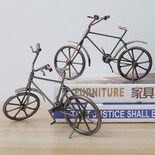 Vintage Metal bicicleta adornos escritorio artesanía Ironwork bicicleta Figurines bicicleta miniatura decoración del hogar para niños juguetes regalos