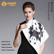 Yopota шелковые роскошные шарфы с пандой модные Универсальные шарфы высокого класса для рабочего места подарок