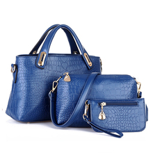 3 Pcs Women's Bags Set Elegant Solid Color Crocodile Stria Hand