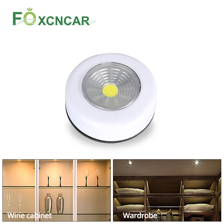 Foxcncar LED Touch Night Light COB LED Under Cabinet Light Wall Lamp Cordless LED Wardrobe Closet Lighting AAA Battery Powered