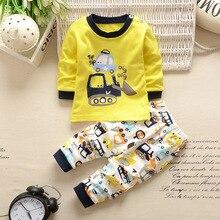 Одежда для маленьких мальчиков комплект из 2 предметов, одежда с героями мультфильмов для новорожденных девочек осенне-зимняя хлопковая рубашка с героями мультфильмов комплект одежды с длинными рукавами для маленьких мальчиков