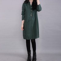 2015 Spring Autumn Fashion Women Ethnic Style Vestido Casual Long Sleeve Linen Loose Dress Elegant Pocket
