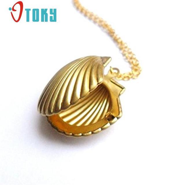 Hot Marketing  New Fashion Seashell Locket Pendant Gold Locket Gold Brass Sea Shell Necklace Jewelry Drop Shipping S2526