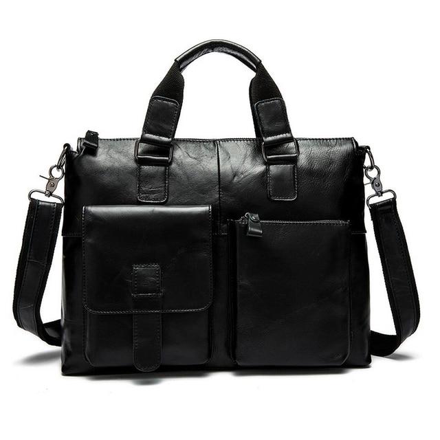 Genuine Leather men bag Vintage Oil Wax men s briefcase shoulder bussiness  Laptop bag men messenger bags 3a44fdc1455a8