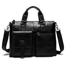 Los hombres de Cuero genuino bolso de Aceite de Cera de La Vendimia de los hombres bussiness maletín del hombro Portátil bolsa de mensajero de los hombres bolsas de viaje de los hombres bolsas de 2016