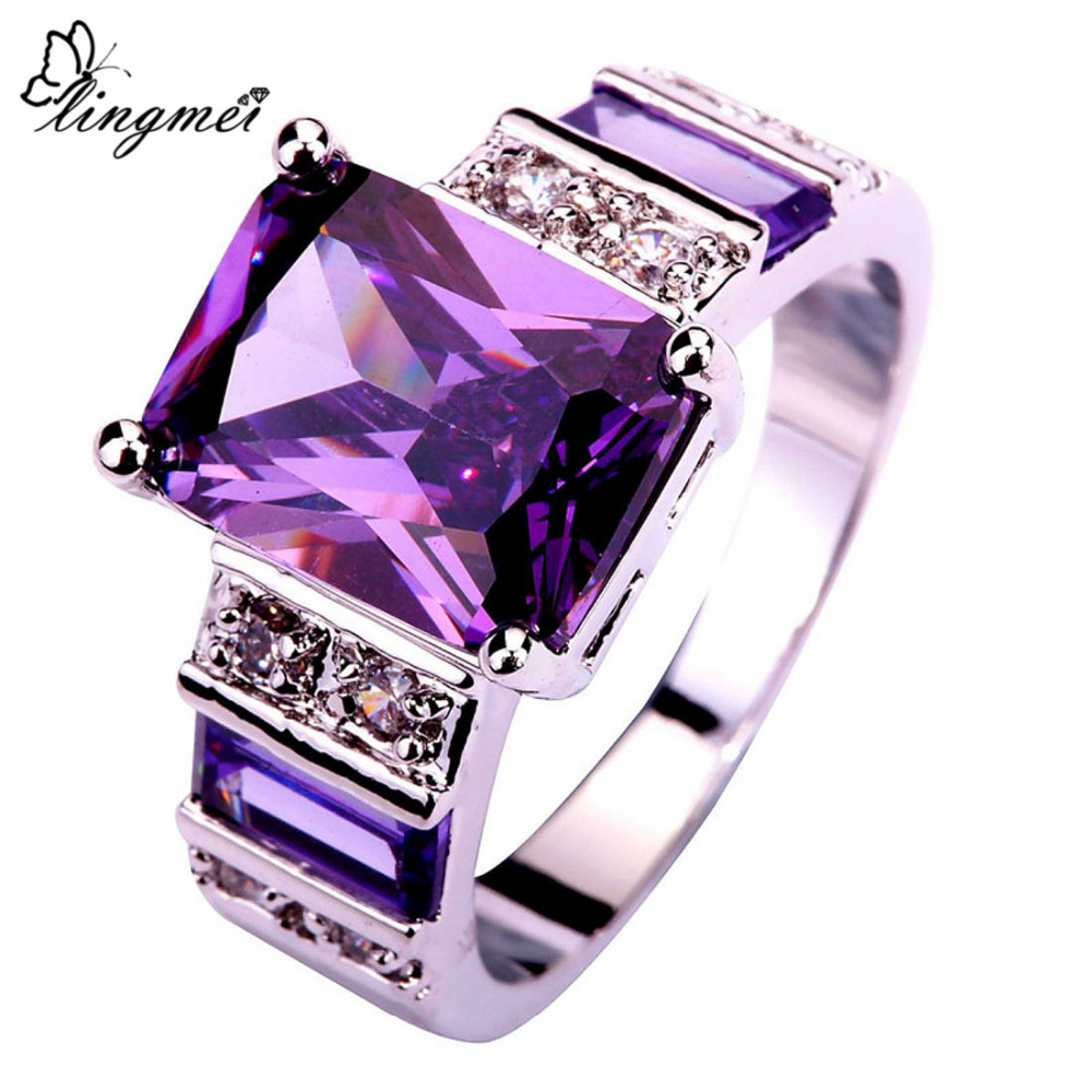 Lingmei popular lindo jóias moda purplewhite cz prata colorring feminino anéis tamanho 6-10 11 12 13 atacado