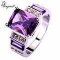 Lingmei Популярные великолепные ювелирные изделия мода фиолетовый и белый CZ серебро цвет кольцо для женщин кольца Размеры 6 7 8 9 10 11 12 13 оптовая продажа - фото
