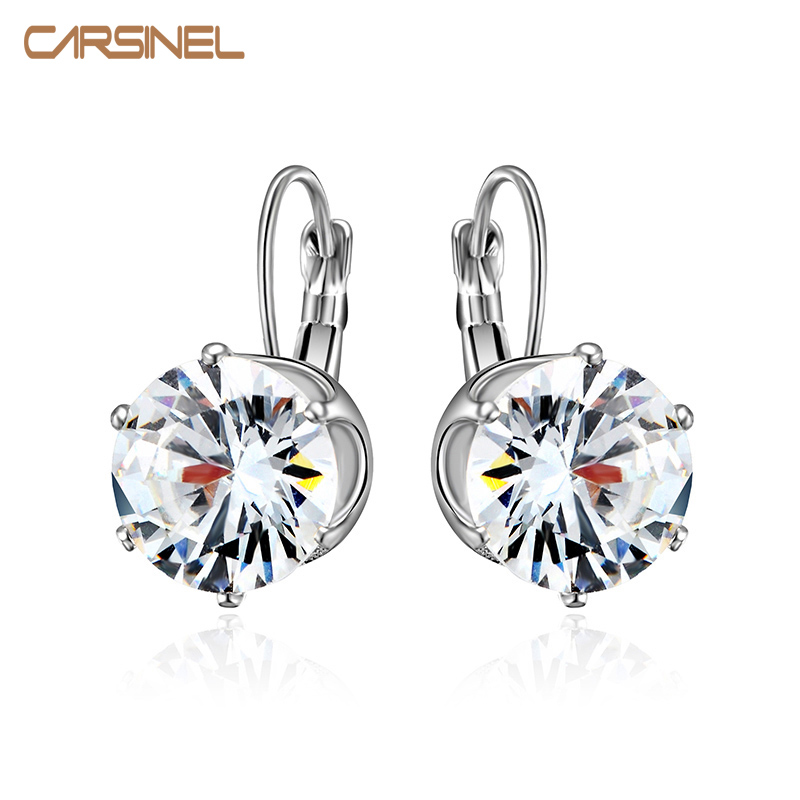 CARSINEL Mode Big Hoop Earrings untuk Wanita Putaran Zircon warna Silver Pernikahan Jewelry Earrings