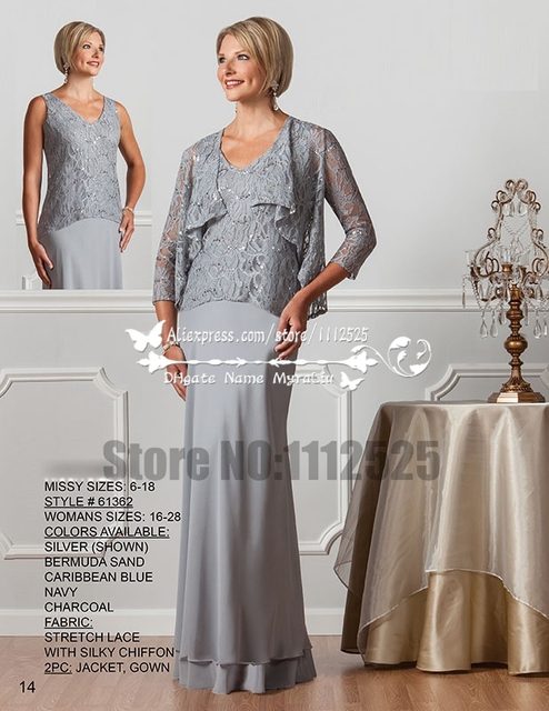 f0b411faeb8 AMD3058 Elegante Silver grey mother of the bride dresses long gown with lace  jacket