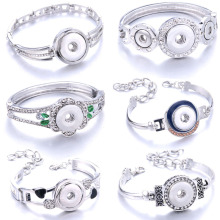 """Новая мода, регулируемые серебряные браслеты-цепочки, металлический браслет с защелкой, подходят для 18 мм, 12 мм, кнопки """"сделай сам"""", ювелирные изделия для женщин"""