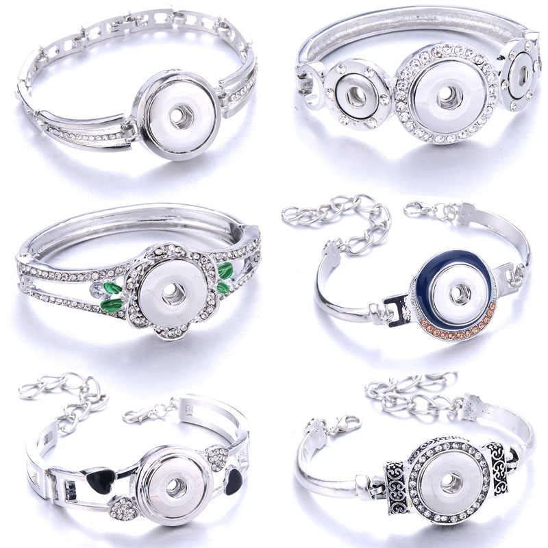 New Fashion Adjustable Silver Chain Bracelets Metal Snap Bracelet Fit 18MM 12MM Snap Buttons DIY Snap Jewelry For Women