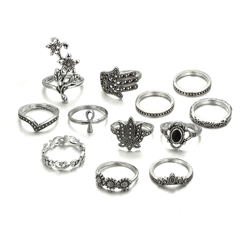 HuaTang Bohemian Antique Silver Ring Geometric Elephant Flower Green Rhinestone Knuckle Rings Midi Finger Anel Rings Jewelry 93