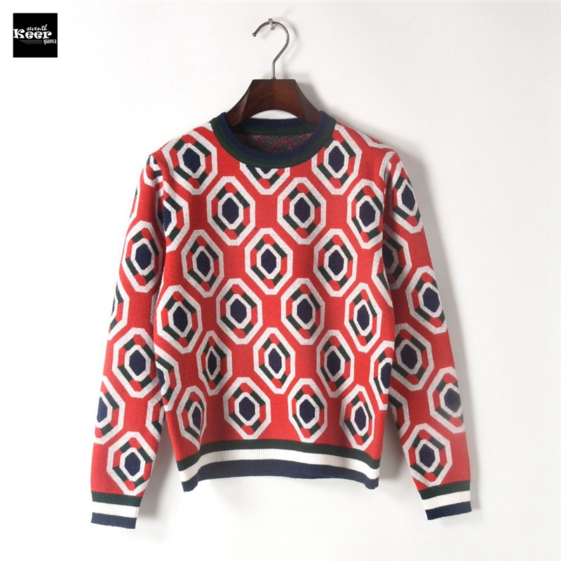 Runway Designer Basic Knit Pullover Sweater Women 2018 Winter Fall New Geometric Color Block Casual Vintage Jumper Jersey mujer