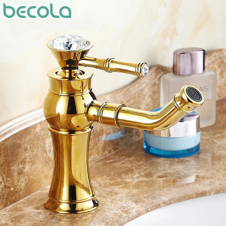 ФОТО B-1013M Brand Design Brass with body Single Handle with diamond basin mixer Bathroom Faucet gold Mixer Tap