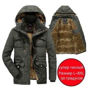 Image 1 - Mannen Winter Jas Dikke Warme Parka Fleece Fur Hooded Militaire Jas Katoen Jas Sneeuw Weer Mannelijke Windjack Jassen Plus Size