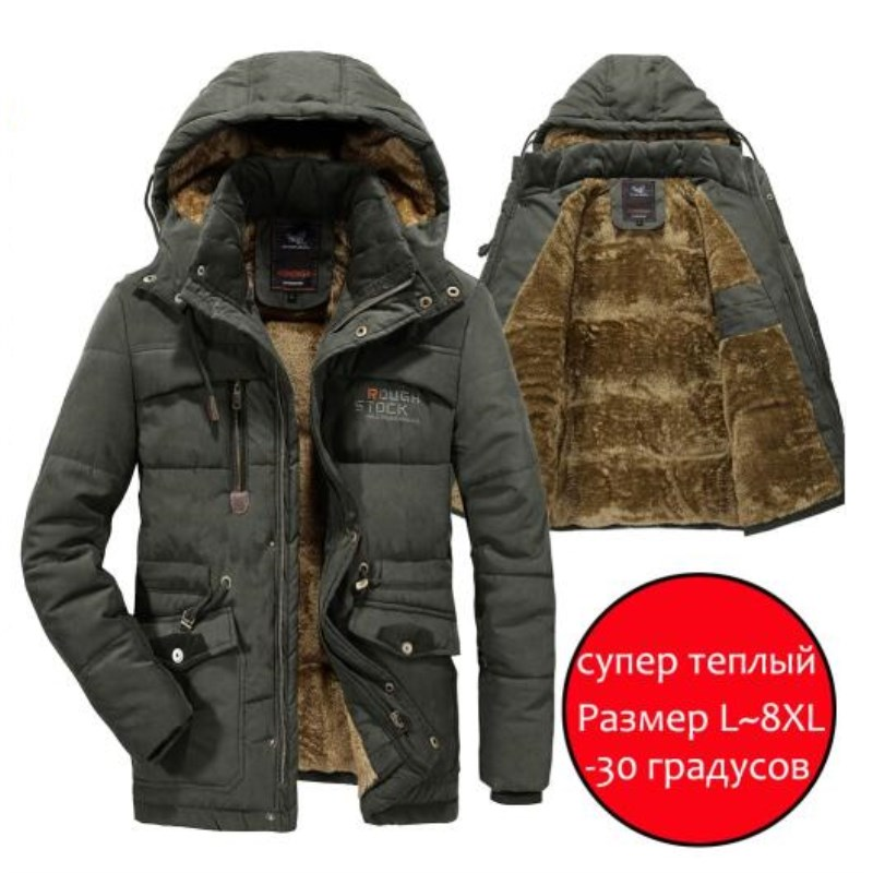 Men Winter Jacket Thick Warm Parka Fleece Fur Hooded Military Jacket Cotton Coat Snow Weather Male Windbreaker Jackets Plus Size-in Parkas from Men's Clothing
