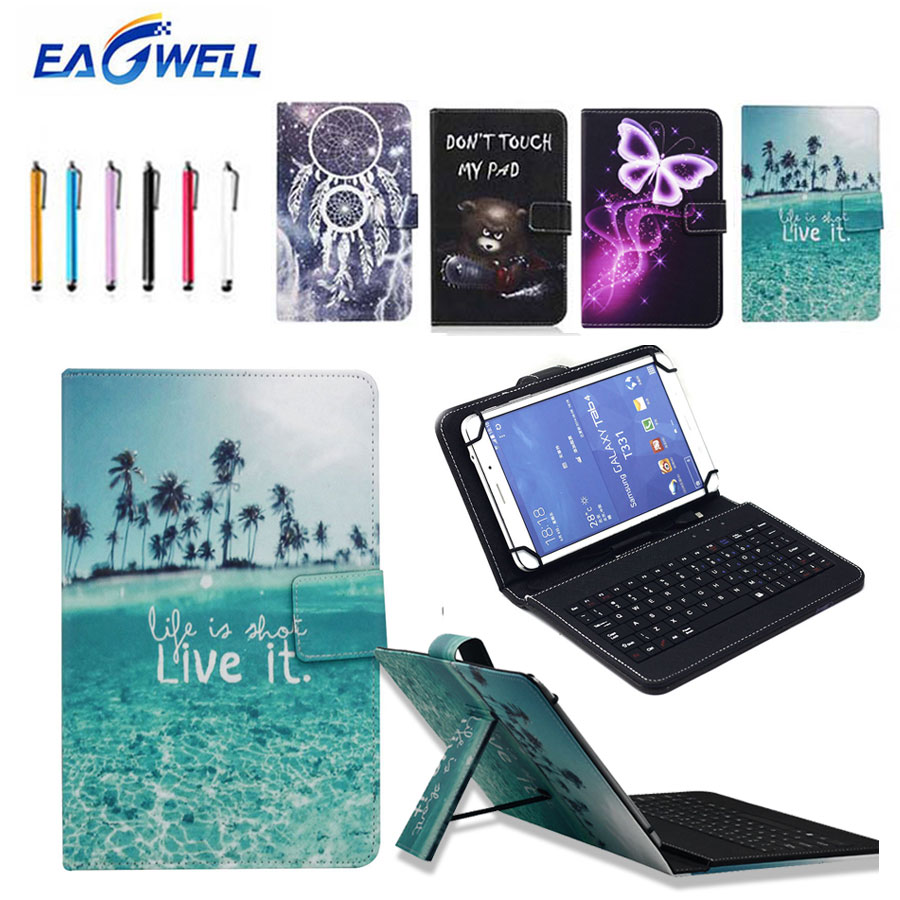 7'' Universal Micro USB Keyboard Case Printed Leather Stand Case Cover For 7 inch Tablet PC For Amazon Fire 7 Samsung Tab A 7.0