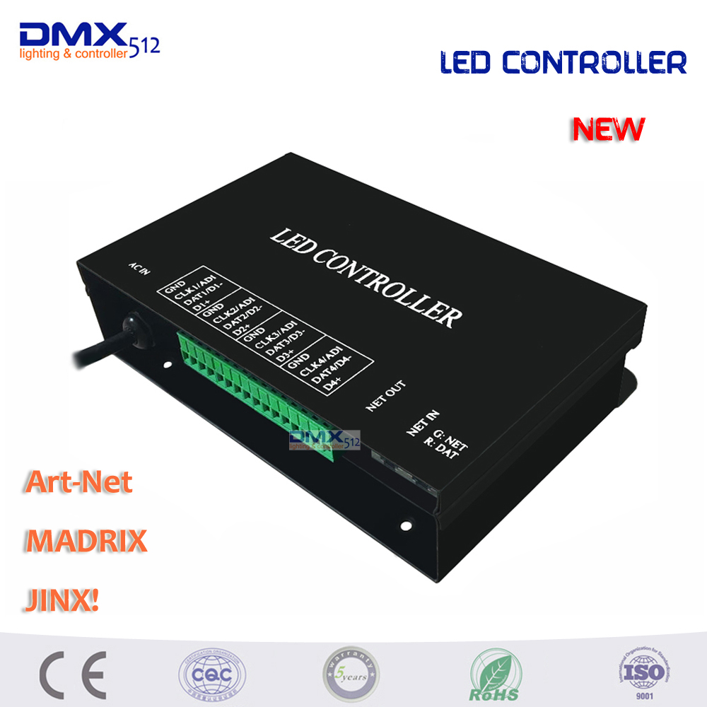 DHL Free shipping 4 ports(4096 pixels) LED artnet controller supports artnet protocol,DMX512 controller,work with MADRIX,Jinx! dmx512 digital display 24ch dmx address controller dc5v 24v each ch max 3a 8 groups rgb controller