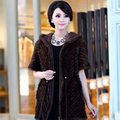 2016 New Real Natural Mink Fur Coat Para Mulheres Malha Mink Fur Jacket Com Capuz Inverno Quente de Pele De Vison Outwear