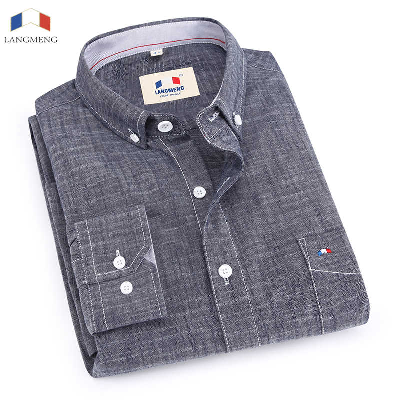 Langmeng 100% bamboo cotton spring autumn male long sleeve casual shirt men slim fit dress shirts chemise homme camisa masculina