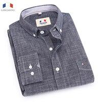 Spring Autumn Male Long Sleeve100 Cotton Casual Shirts Men Solid Color Slim Jeans Shirt Men Denim