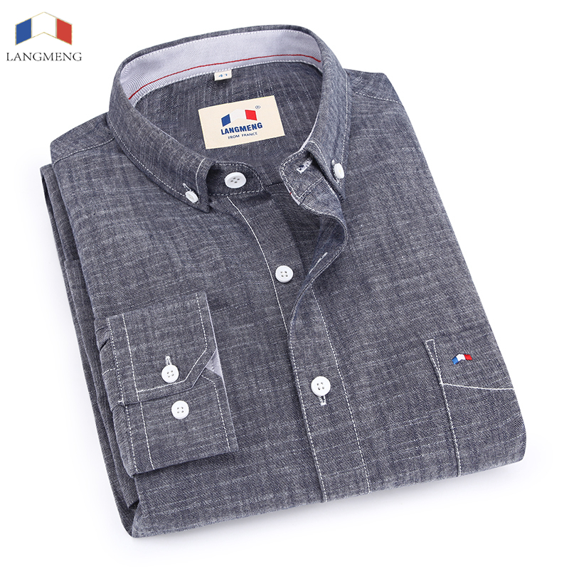 Spring Autumn Male Long Sleeve100 Cotton Casual Shirts Men Solid Color Slim Jeans Shirt Men Denim