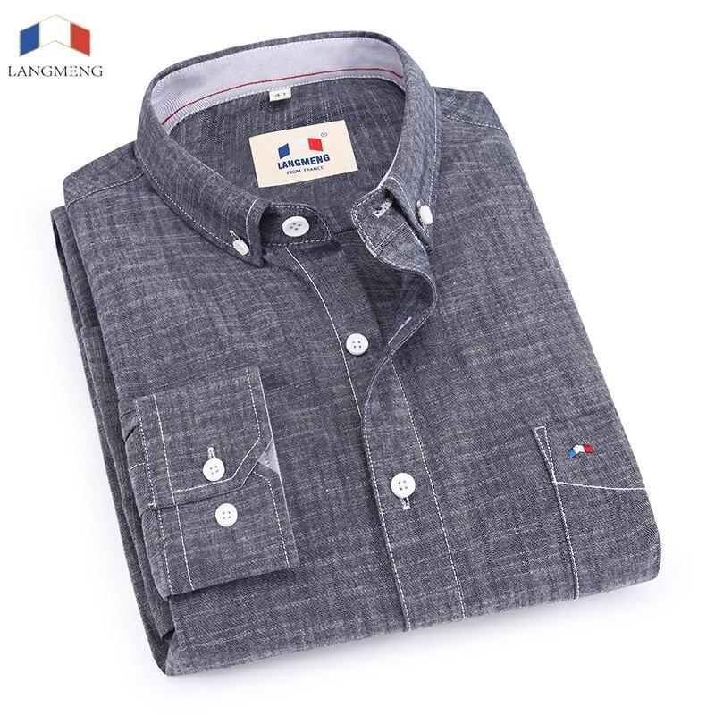 Langmeng 100% хлопок, бамбук весна-осень Мужской Длинные рукава Повседневная рубашка мужчины Slim Fit рубашки платья CHEMISE Homme Camisa masculina