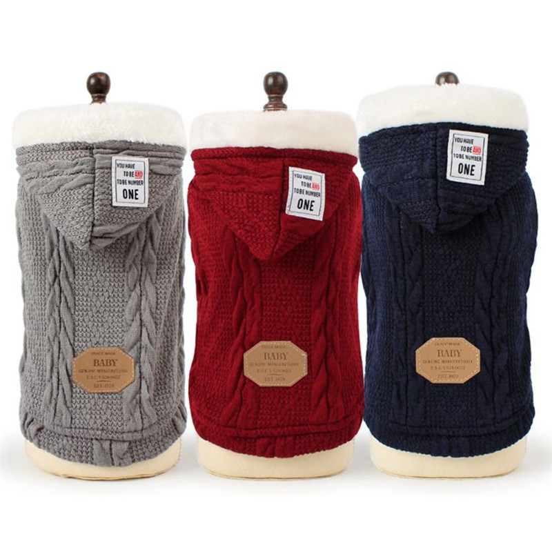 Winter Thick Pet dog Sweater Coat Knitting Weave Puppy Hoodie clothes with Hat Classic K ...