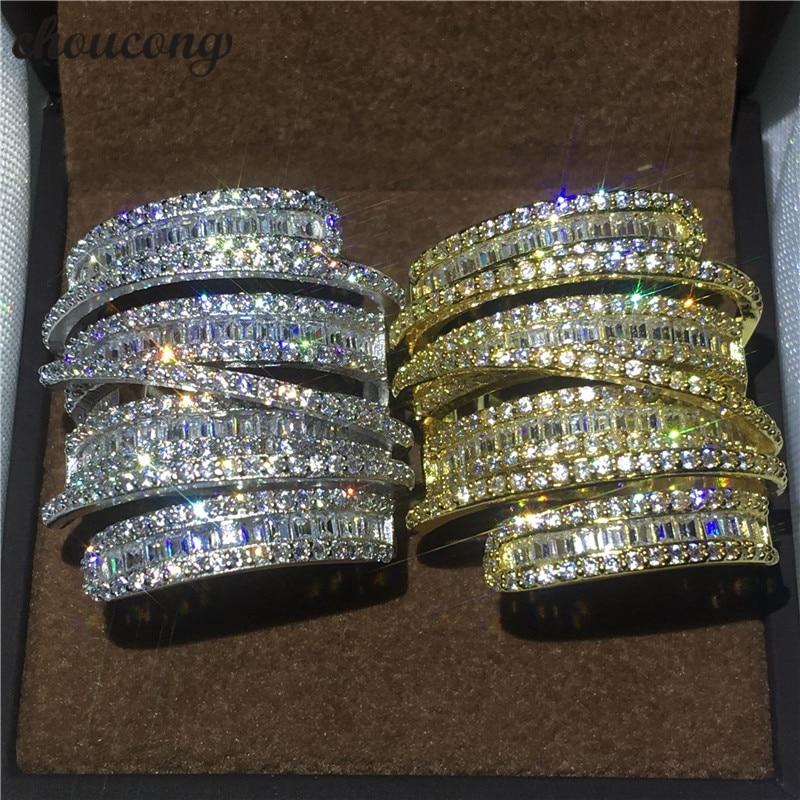 Choucong Croix Bijoux Grand anneau T forme 5A zircon Cristal Jaune et blanc or rempli Engagement Wedding Band Anneaux Pour Femmes hommes