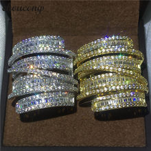 choucong Cross Jewelry Big ring T shape 5A zircon Crystal Yellow & White gold filled Engagement Wedding Band Rings For Women men(China)