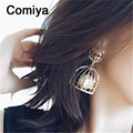 Comiya  sobretudo feminino fashion hollow out zinc alloy imitation pearl lady dangle earrings boucle d oreille wholesale earring