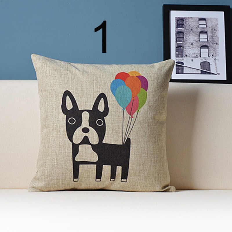 คุณภาพสูงผ้าฝ้ายผ้าลินิน colourfu Bull Terrier สุนัขทาสีด้านข้างพิมพ์สำหรับโซฟาหน้าแรกหมอน 3D