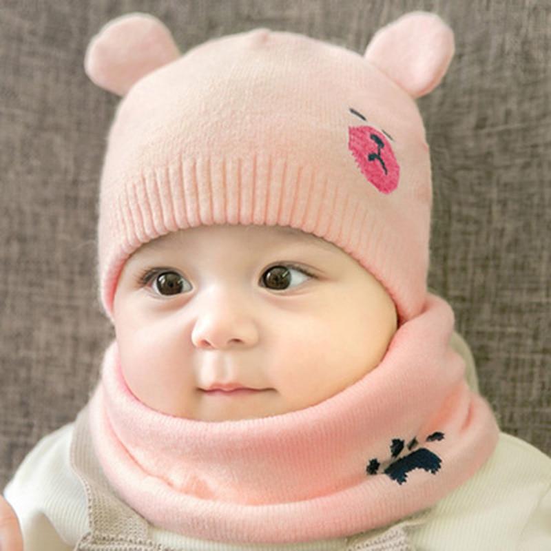 Baby Winter Caps Scarf Suits Warm Knitted Beanie Cap Cute Cartoon Bear Beanie NFE99