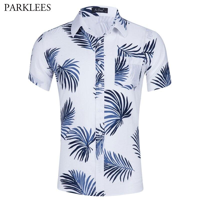 4c6668fbeb Estate di Marca Uomini Camicia Slim Fit Manica Corta Spiaggia Hawaiana  camicie Da Uomo Casual Festa del partito Maschio Aloha Shirt Camisa  Hawaiana ...