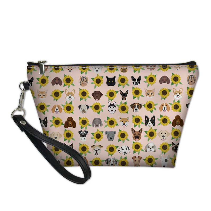 3551c46ccbfd US $7.46 44% OFF|NOISYDESIGNS Cute Fashion Dogs Cats Heads Sunflower  Florals Print Cosmetic Bags Female Makeup Case Women Toiletry Small  Purse-in ...