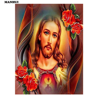 Flower Jesus Painting 5d Daimond Painting Diamond Embroidery Icons Religious Picture By Numbers Mosaic Home Decoration