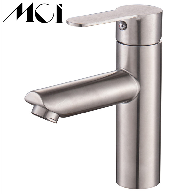 Basin Faucet Lead-free SUS304 Stainless Steel Brushed Water Mixer Sink Tap Hot And Cold Water Torneira Bath Mixer Taps Mic-D095 sus304 stainless steel lead free drinking water filter tap hot and cold water purifier kitchen faucet surface brushed dona1004