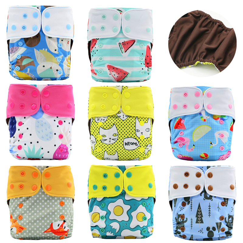 JinoBaby Children Diaper Coffee Fabric Quick-Drying Cloth Pocket Diaper Babies Nappy (One Size for NB 6lb to 28lb)