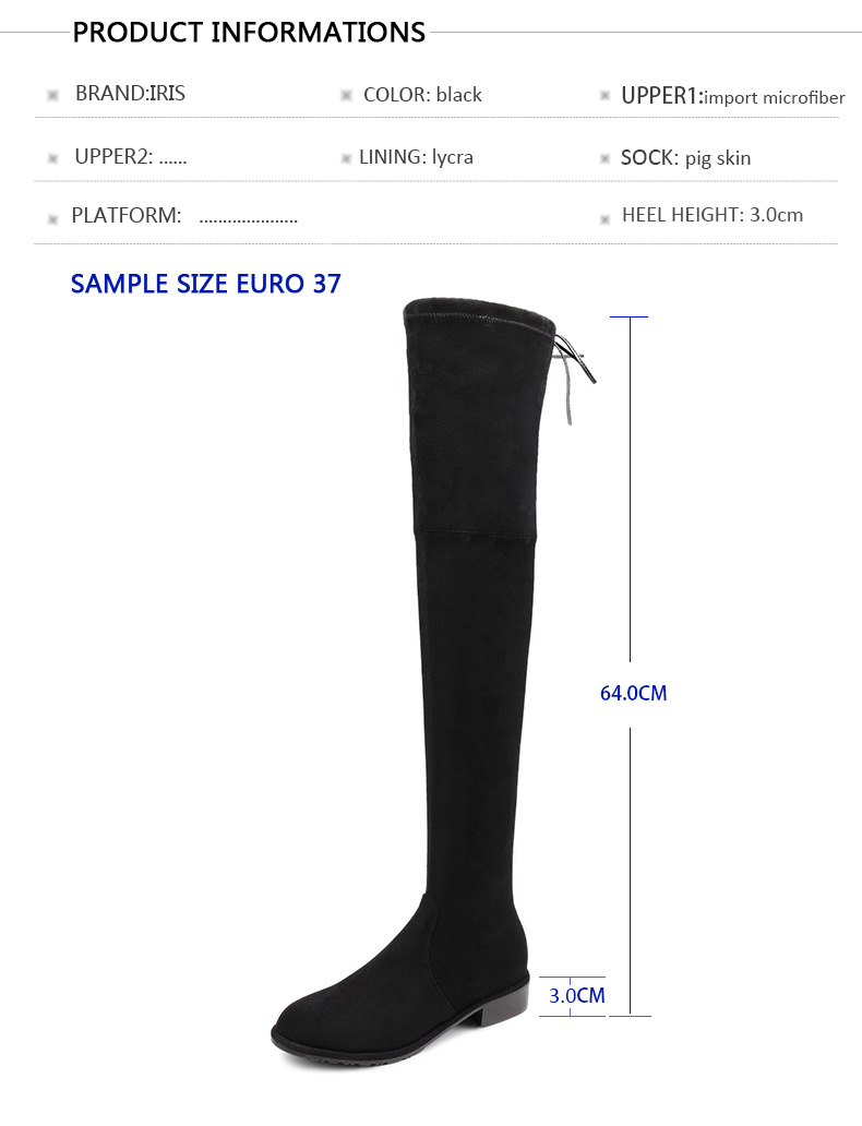 1d604e3d9e9 US $79.2 |IRIS Womens Flat Over Knee Boots Sexy Winter Thigh High Boots  Black Stretch Microfiber Suede Fashion Shoes Woman 2017 Hot Sale-in ...