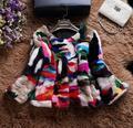 Высочайшее Качество Красочные Многоцветный Подлинная Норки Пальто Короткий Стиль О-Образным Вырезом Зима Шерсть Женщин Верхняя Одежда Пальто ММ-19