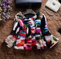 Top Quality Colorful Multi Color Genuine Mink Fur Coat Short Style O-neck Winter Women Fur Outerwear Coat MM-19