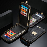 New For iPhone X XR XS Max 5 5C Wallet Case with Detachable TPU Back Case For Apple iPhone 6 6S 7 8 Plus Multifunction Phone bag