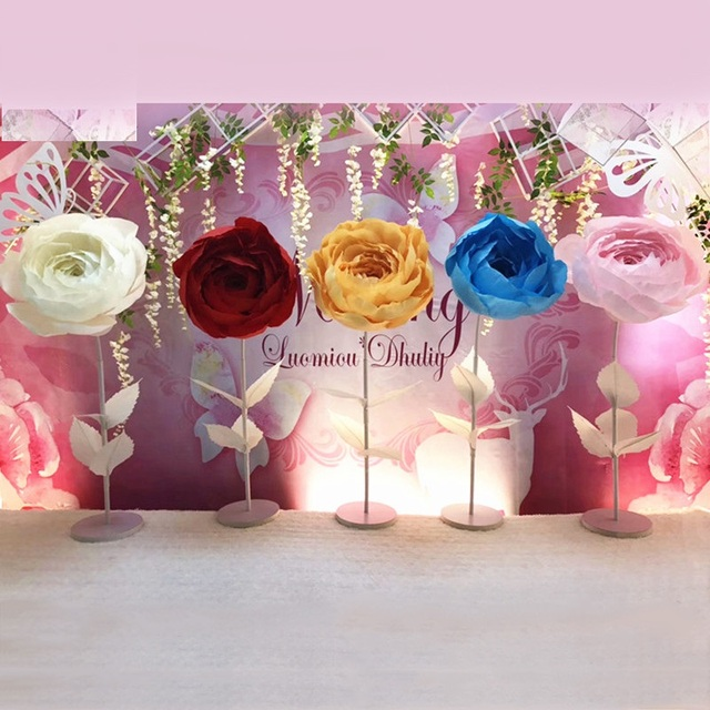 Stage Decoration With Paper Flowers Oh Decor Curtain