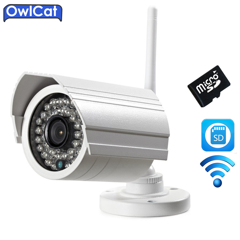 Owlcat Outdoor Bullet WIFI IP camera HD 2.0MP 1080p Audio Microphone Wireless Survelliance CCTV Security Camera IR SD Card Slot owlcat wifi ip camera bullet outdoor waterproof onvif wireless network kamara 2mp full hd 1080p 720p security cctv camera