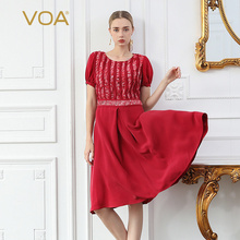 VOA Red Heavy Silk Midi Dress Women Elegant Summer Dresses Short Sleeve High Waist Print Clothing Fashion vestidos A958