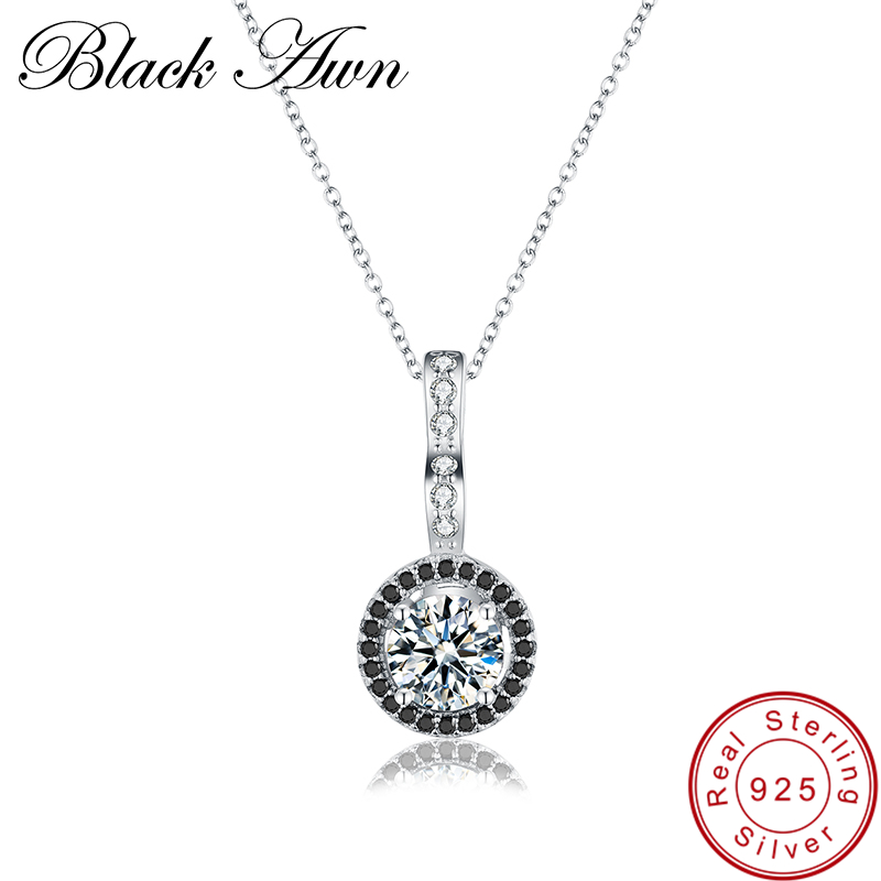 [BLACK AWN] Fine Necklace for Women Genuine 100% 925 Sterling Silver Jewelry Classic Black&White Stone Necklaces Pendants P064