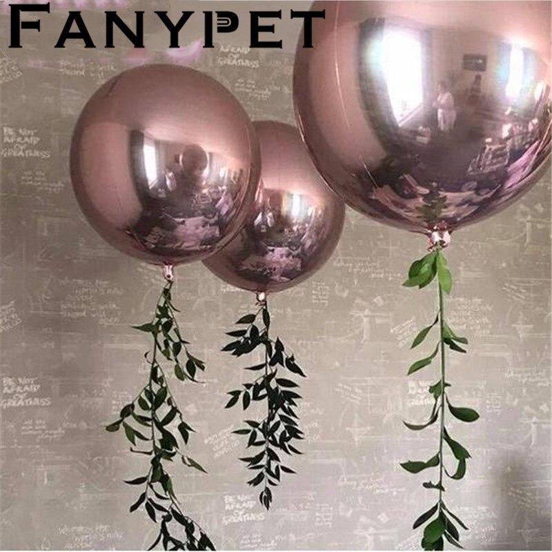 20 PCS/lot 32 pouces Rose Or Argent 4D Grand Rond Sphère En Forme de Feuille Ballons Orbz Bébé De Douche De Mariage de Fête D'anniversaire décorations