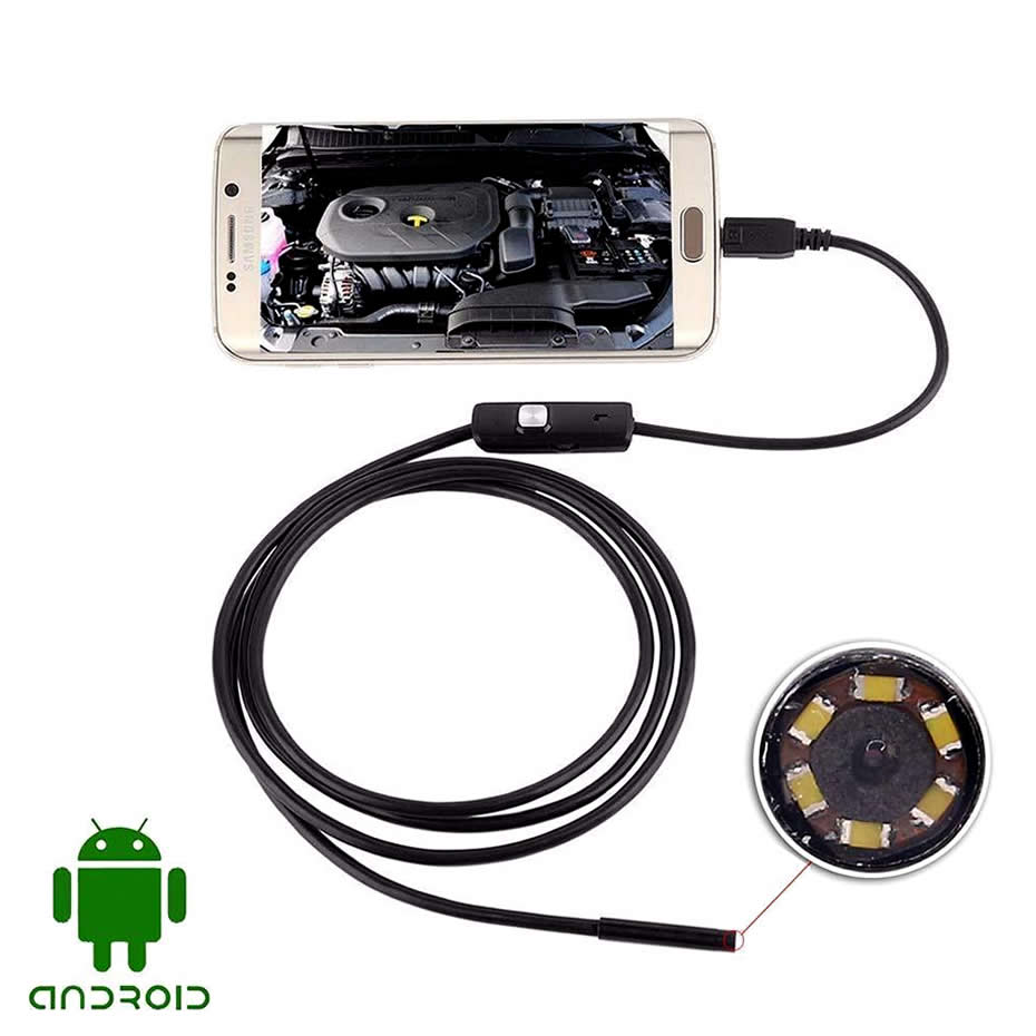Wsdcam Waterproof Endoscope Camera with USB Interface and 6 LED Light for Android/iOS Phone 9