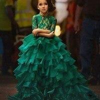ירוק תחרת מחוך Ruched ראפלס פרחי שמלת ילדה חצי שרוולים מקיר לקיר Vestido אמא שמלות בת ילדים עבור בנות